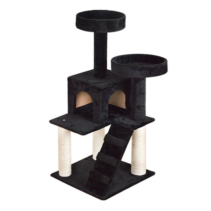 Vidagoods 51' Almond Black Beige Cat Tree Soild Condo Furniture Scratch Post Play House CARB-Certified E0 Classied Wood Particle-board * Find out more details by clicking the image : Cat Tree and Tower