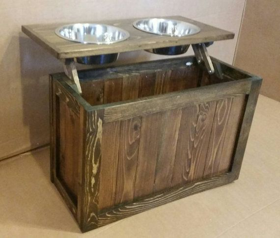 Raised Dog Feeder With Storage Elevated Pet Reclaimed