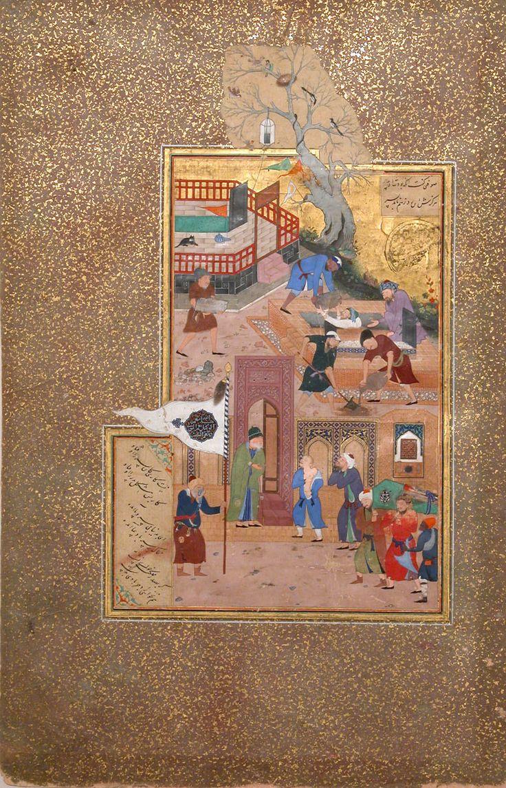 "Sultan 'Ali al-Mashhadi   ""Funeral Procession"", Folio 35r from a Mantiq al-tair (Language of the Birds)   Islamic   The Metropolitan Museum of Art"