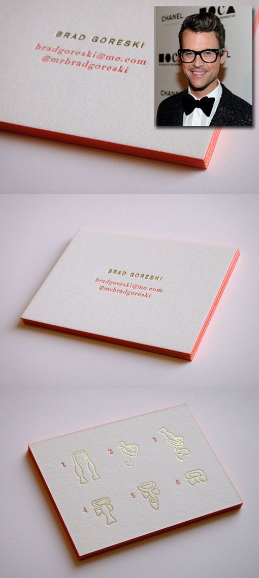 Sarah Drake Design: Brad Goreski Calling Cards    If you're any sort ofBrad Goreskifan (as am I) you must agree how incredibly perfect these sophisticated yet playful calling cards are for him. Well played,Sarah Drake Design. Well played.