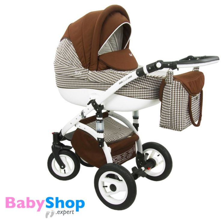 Kinderwagen Evado 3in1: Babywanne, Buggy, Autositz - braun + Karo  http://www.babyshop.expert/Kinderwagen-Evado-3in1-Babywanne-Buggy-Autositz_23  #babyshopexpert #kombikinderwagen #kinderwagen