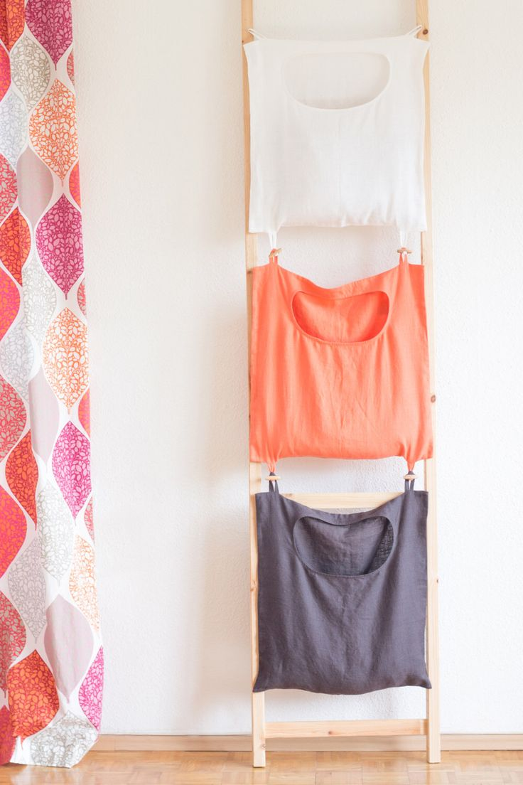 Color-coded laundry bag, linen laundry bag,  hanging laundry bag, laundry tote, linen laundry bag hamper hanging, laundry room organization by feellinen on Etsy https://www.etsy.com/listing/265097894/color-coded-laundry-bag-linen-laundry