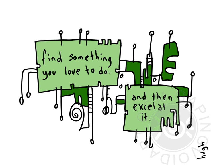 """""""Find Something you love to do and then excel at it""""   by www.gapingvoidart.com"""