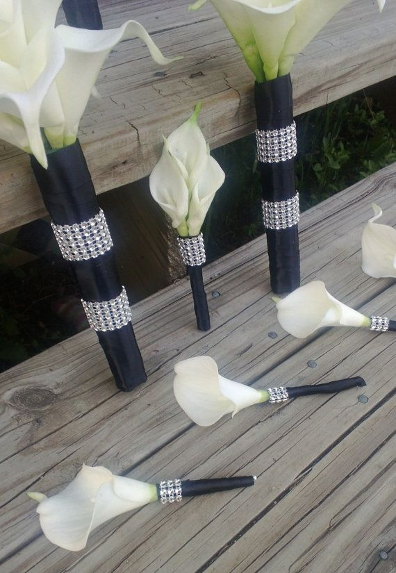 Real Touch White Calla Lily Bridal Bouquet by SilkFlowersByJean, $271.00