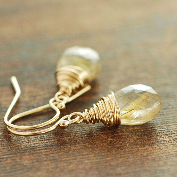 Gouden Rutilated Quartz Earrings, Wire Wrap Gold Gemstone Earrings, rustieke moderne sieraden