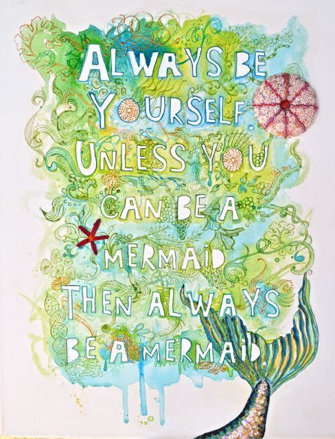 Be a Mermaid by Smallest Forest - Love the combination of painting on canvas with embroidered embellishment!