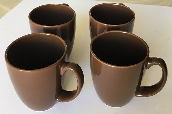 Vintage Corelle Stoneware Mugs, four brown coffee cups, cocoa cups, earthtone tea mugs, vintage kitchenware dinnerware by designfrills on Etsy
