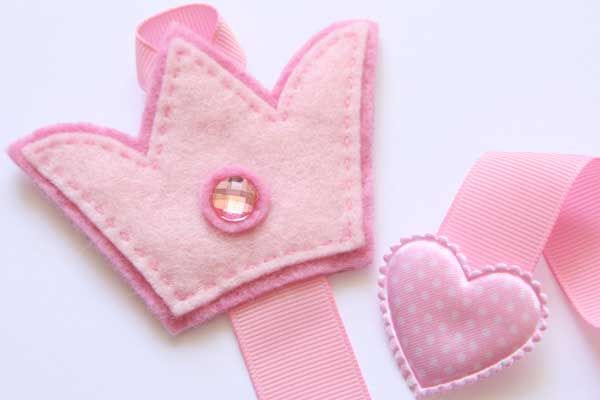 Crown Hairclip Holder - Pink & Light Pink