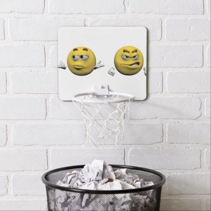 Yellow angry emoticon or smiley mini basketball hoop - home decor design art diy cyo custom