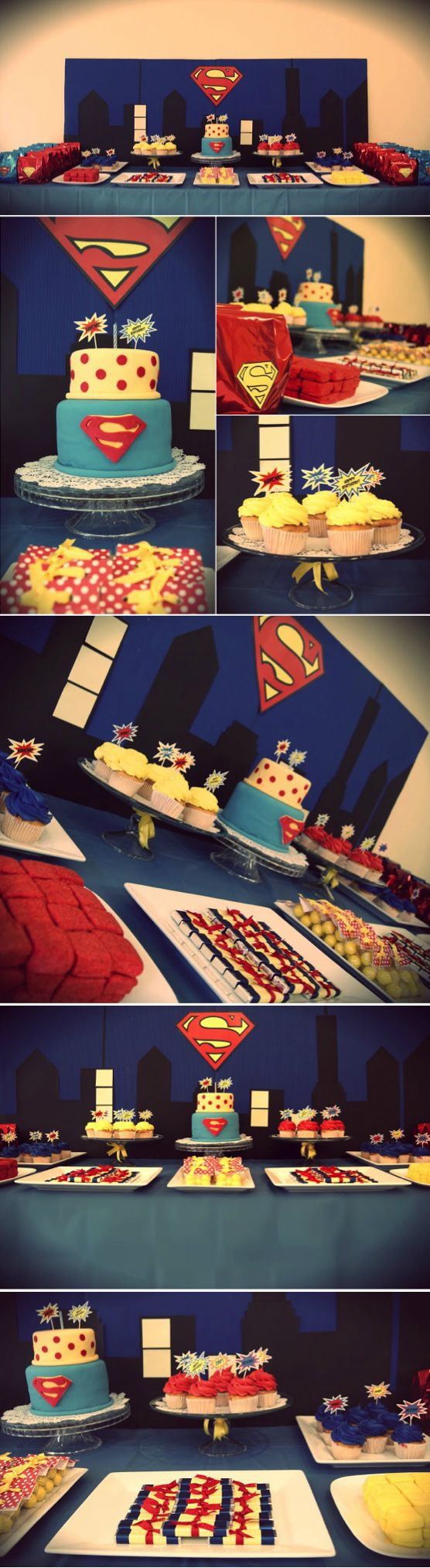 Superman Party Ideas - Ideas para Fiesta de Superman #DIY #party #decor - Sweet Table: Superman Birthday Party / Superhero theme for dessert table / Superman Inspired - Mesa de postres y dulces