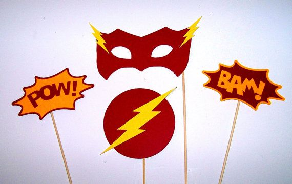 Photo Booth Props The Flash Inspired 4 pc by PimpYourParty on Etsy, $12.00