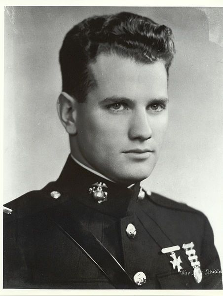 1st LT George Cannon USMC, was the first Marine in WWII to receive the Medal of Honor for service during the bombardment of Midway Island on Dec 7 1941. He remained at his Command Post despite being mortally wounded by enemy shell fire, refusing to be evacuated until his men who had been wounded by the same shell were evacuated, and continued to direct the reorganization of his Post until forcibly removed. As a result of utter disregard of his own condition, he later died from loss of blood.