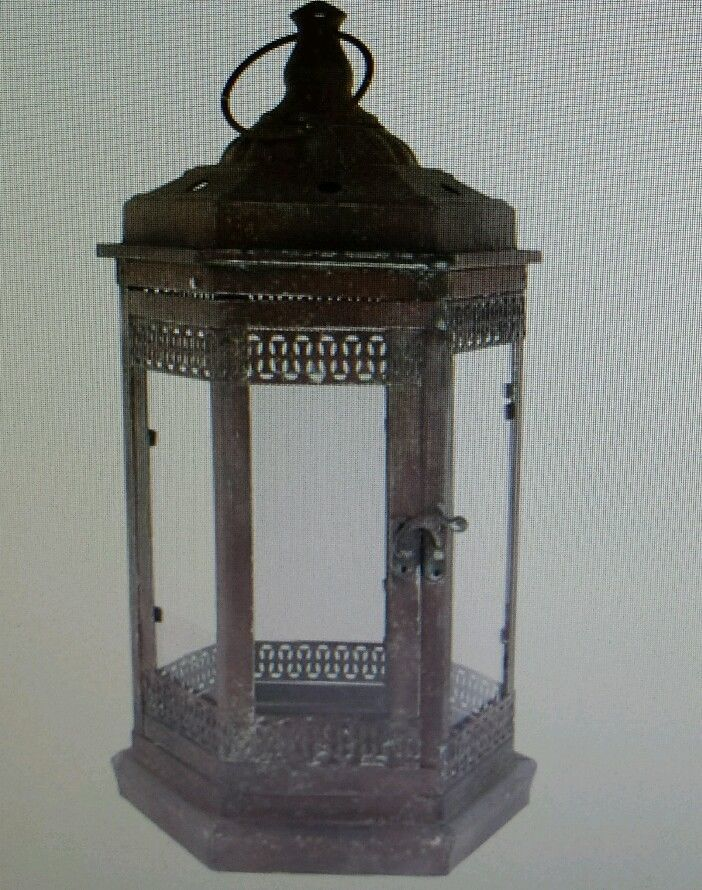 """Antique Rustic Metal Lanterns with Handle 16"""" H x 8"""" W Home Decor Man Cave Woman"""