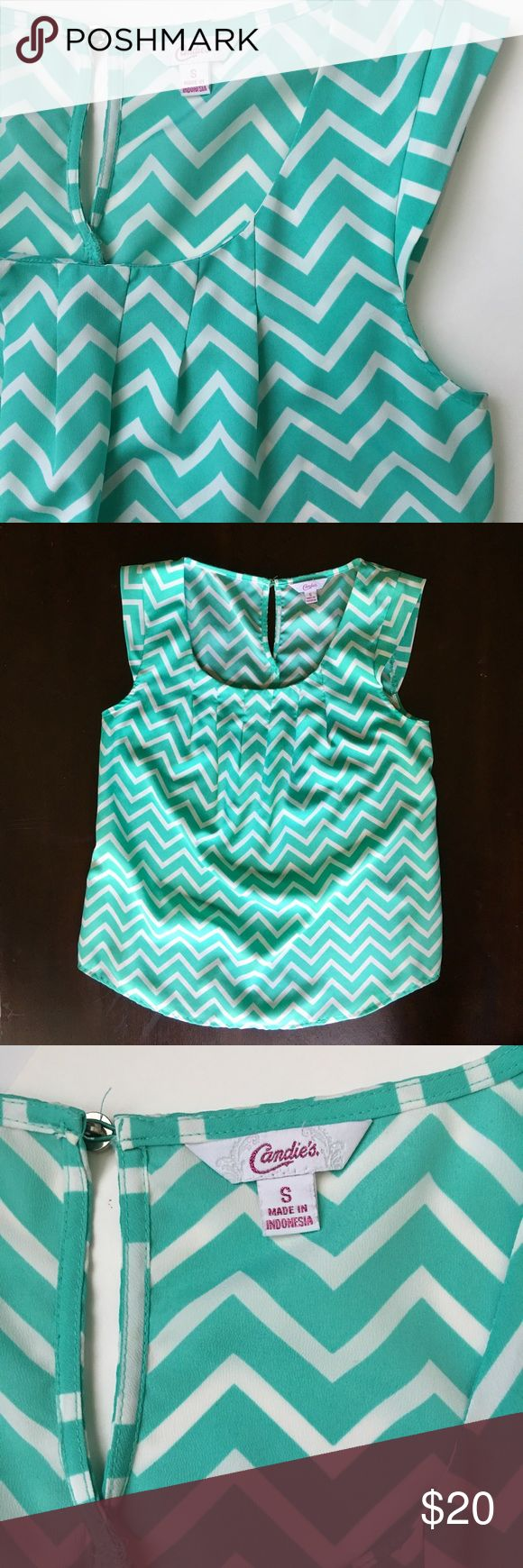 Candie's sleeves chevron blouse Candie's sleeves chevron blouse. Aqua/green. Very comfortable polyester material. Can wear with dress pants for work or jeans & shorts for casual wear. Size small. Tops Tank Tops
