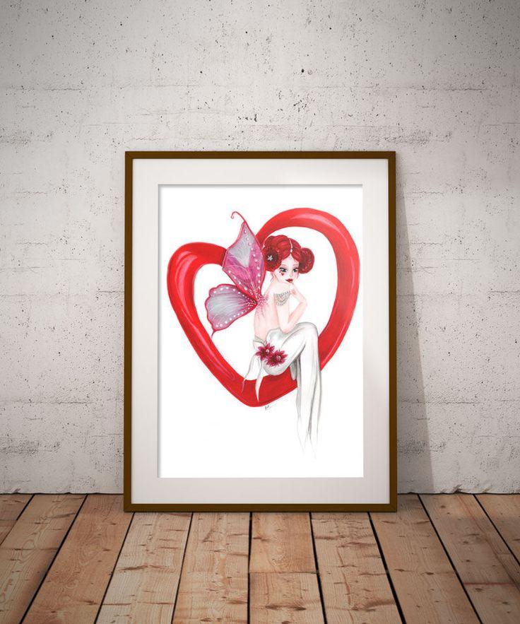 Love Fairy,  Red decor,Digital art, Wall Decor, Fantasy Art, Printable art, Girls room decor, Instant download, image transfer, teen room by DreamBigArtDesign on Etsy
