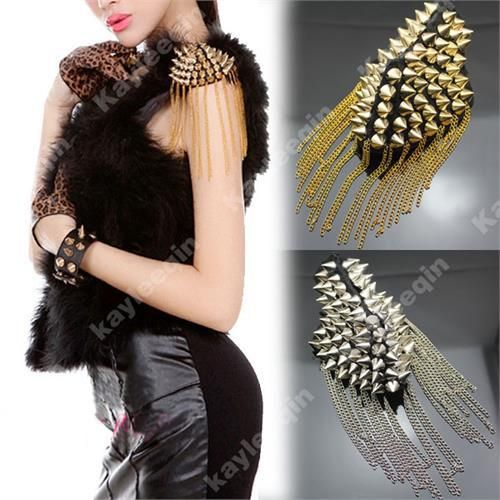 Cheap brooch chain, Buy Quality brooch jewelry directly from China chain brooch Suppliers: Woman Spike Stud Rivet Black Shoulder Flash Epaulet Brooch Chain Punk Costume Jewelry 2017 New