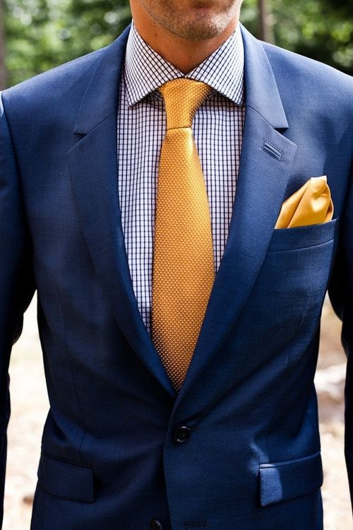 Golden yellow tie and solid yellow pocket square paired with micro check shirt and navy suit. Great summer style!