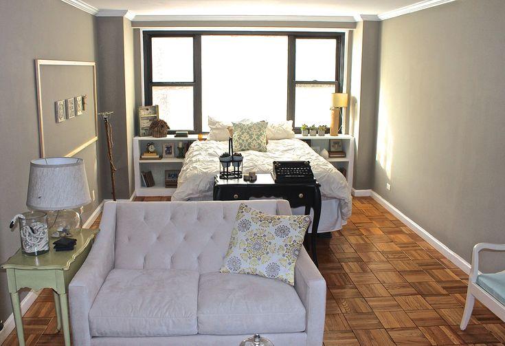 Long and narrow NYC studio apartment Small apartmentsized sofa