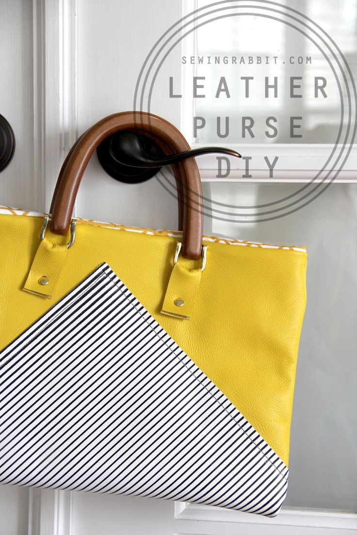 DIY: yellow and stripes leather bag