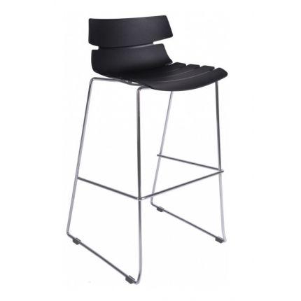 Barová židle Custom, černá s chromovanou podnoží