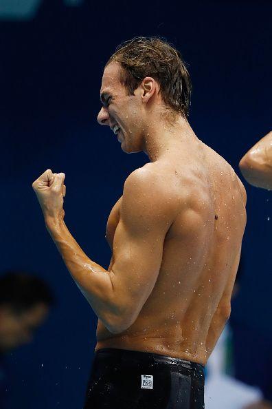 Gregorio Paltrinieri of Italy celebrates winning gold in the Men's 1500m…