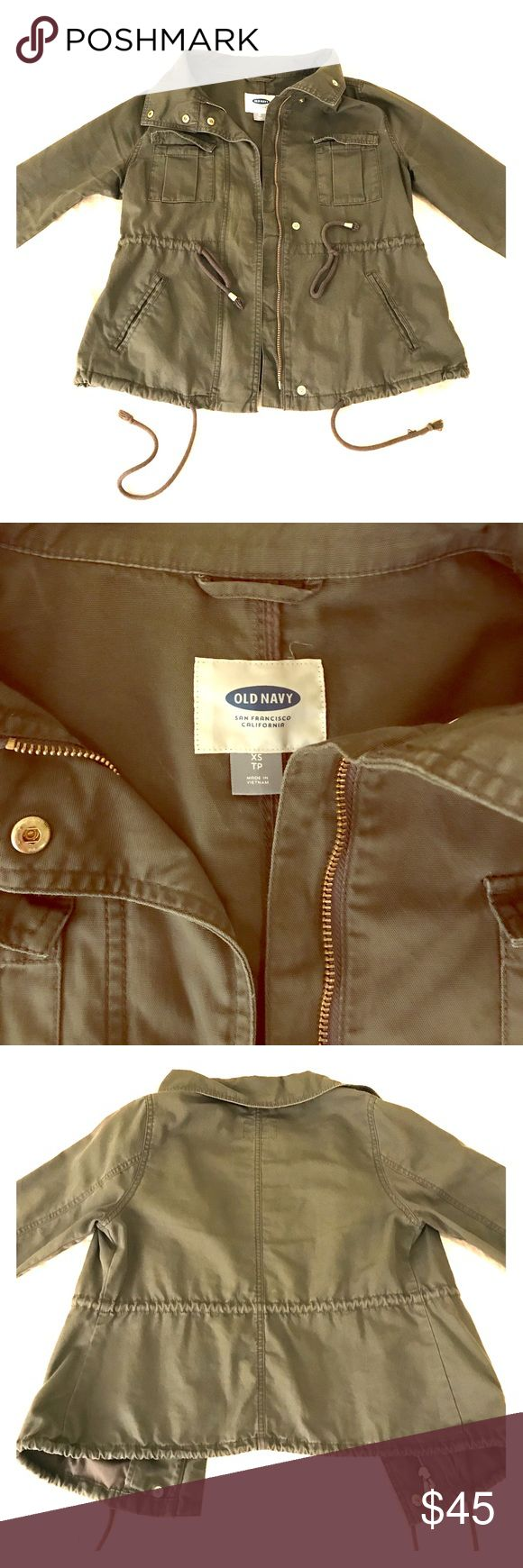 Olive Green Military Jacket - Size XS With gold accents from Old Navy. Great condition! Perfect addition to your spring outfit. Old Navy Jackets & Coats Utility Jackets