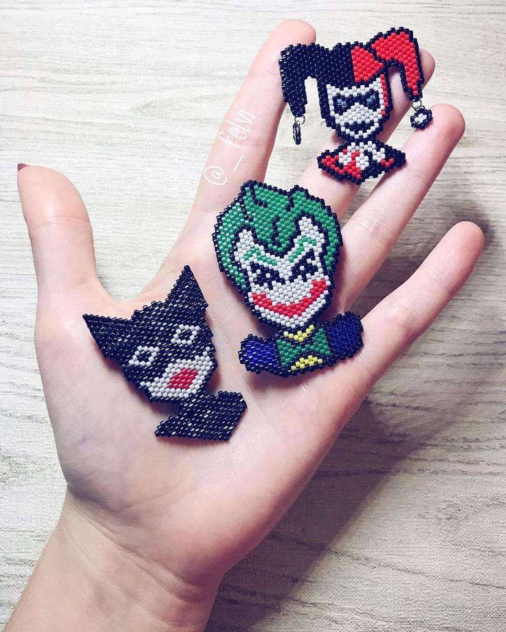 Joker with Harley looks like a sweet couple) but I think catwoman needs boyfriend . . . . . . #designbyfelvi #brickstitch#miyukiaddict#デリカビーズ#design #handmade #etsy #miyukidelica #beadwork #brooch #jewerlydesign#handmadejewelry #beads #брошьизбисера #beautiful #pixelart #handmadebrooch #beadswork #halloween #harajukustyle #batman #gothamcity #harleyquinn #catwoman #joker