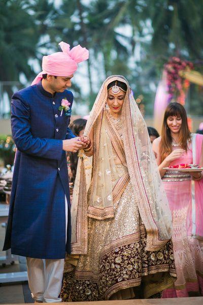 Bridal Wear - Beige and Brown Wedding Lehenga with Double Dupatta | WedMeGood #wedmegood #indianbride #indianwedding #bridal #lehenga #sherwani #bridalentry