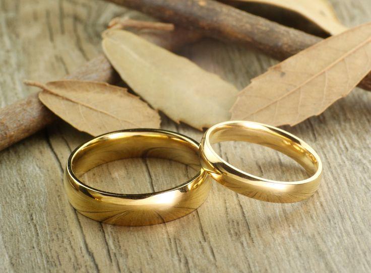 Handmade Gold Dome Plain Matching Wedding Bands, Couple Rings Set, Titanium Rings Set, Anniversary Rings Set