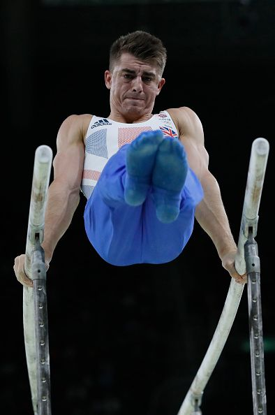 #RIO2016 Bronze medallist Britain's Max Whitlock competes in the parallel bars event of the men's individual allaround final of the Artistic Gymnastics at the...