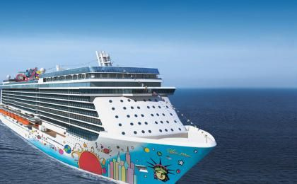 Norwegian Breakaway's signature hull artwork designed by pop icon and America's most popular living artist, Peter Max! This is the first time we have ever commissioned a well-known artist to paint the hull artwork on one of our ships. Max's signature artwork will cover approximately 40,000 square feet of Norwegian Breakaway's hull!