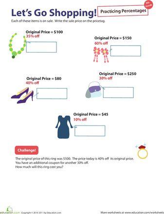 Percent Practice #6 Let\u0027s Go Shopping! Math Pinterest