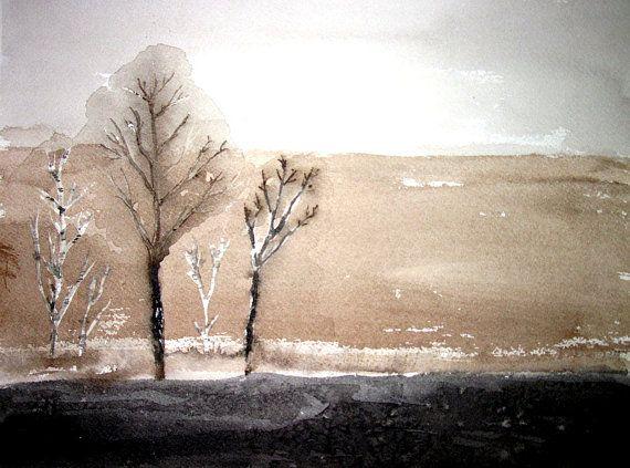 Zen Tree LandscapeORIGINAL Watercolor by PattisWatercolor on Etsy, $26.00