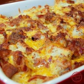 "Easy Overnight Bacon and Egg Breakfast Casserole Recipe. Grease a 9"" x 13"" baking dish. Mix together the eggs, milk, salt and dry mustard. Spread the bread cubes in the bottom of the dish, sprinkle over the bacon and cheddar cheese. Pour the egg mixture over the top. Cover with plastic wrap and refrigerate overnight, then bake at 350 F for 45 - 60 mins."