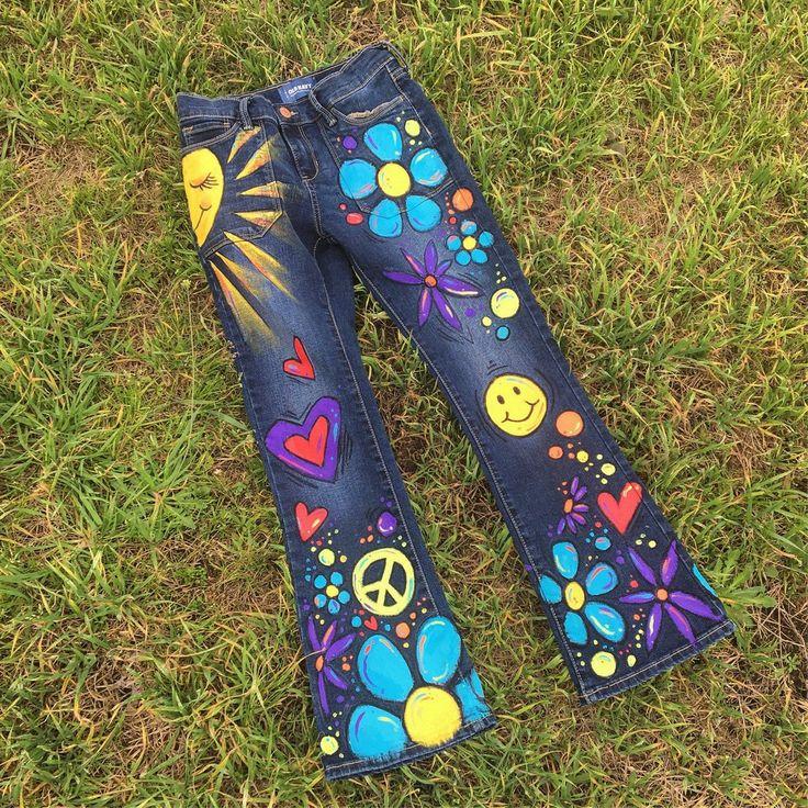 Niño de flor Hippie para niños Jeans pintados a mano de ...