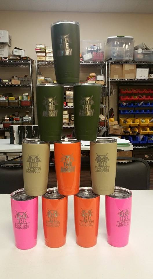 custom yeti ramblers with business logo, the Armory , Victoria, TX. done by Grimm brothers coatings