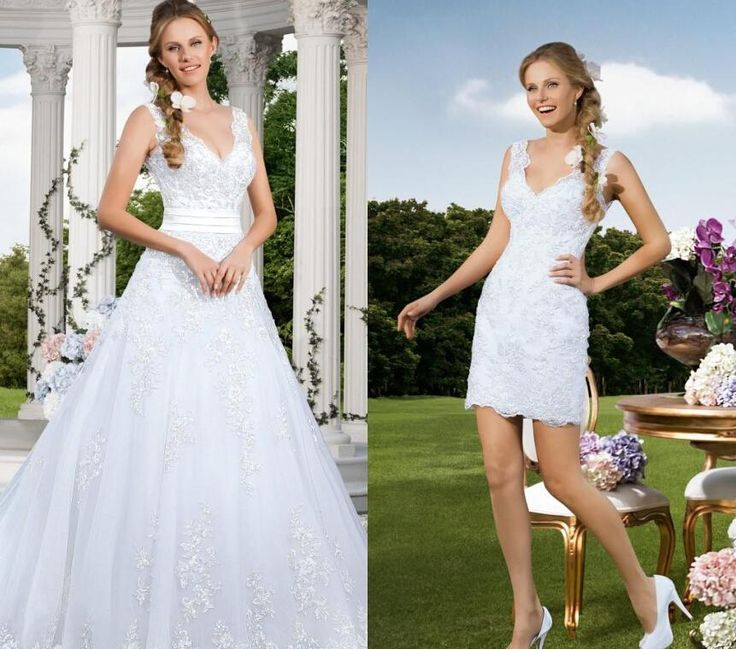 Elegant 2015 Sexy Two Pieces A Line Wedding Dresses Beach Bridal Gowns With Deep V Neck Vintage Wedding Gown Detachable Train Vestidos A Line Wedding Dresses Australia Empire Line Wedding Dresses With Sleeves From Elegantdresses, $166.58  Dhgate.Com