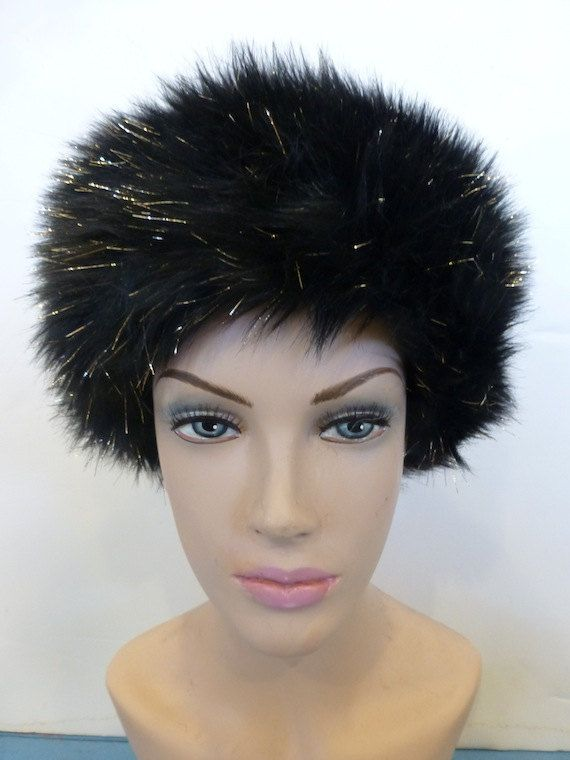 Faux Fur Hat Black hat Gold hat gold sparkleWinter by HappyHatzs