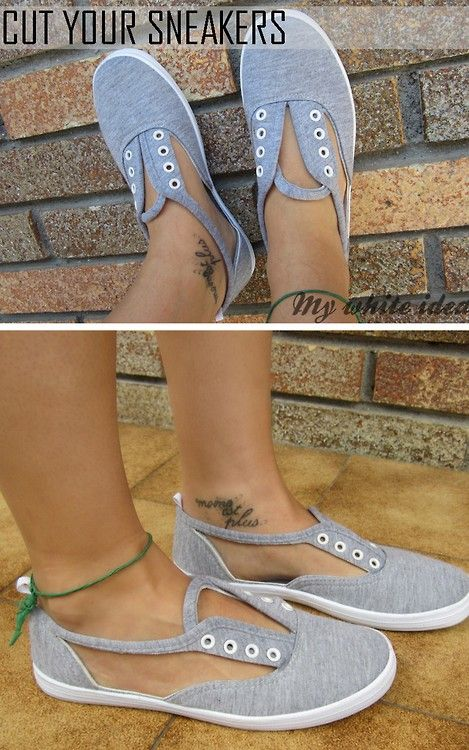DIY Cut Out Canvas Sneakers Tutorial Idea here.