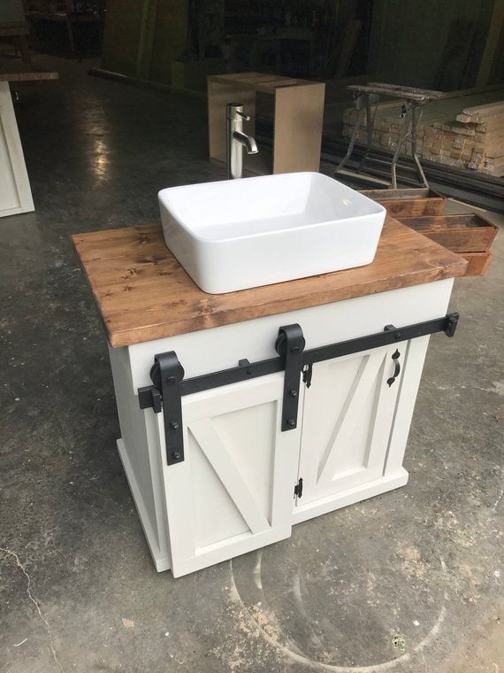 Sliding Barn Door Vanity Etsy Diy Bathroom Diy Bathroom Vanity Bathroom Vanity
