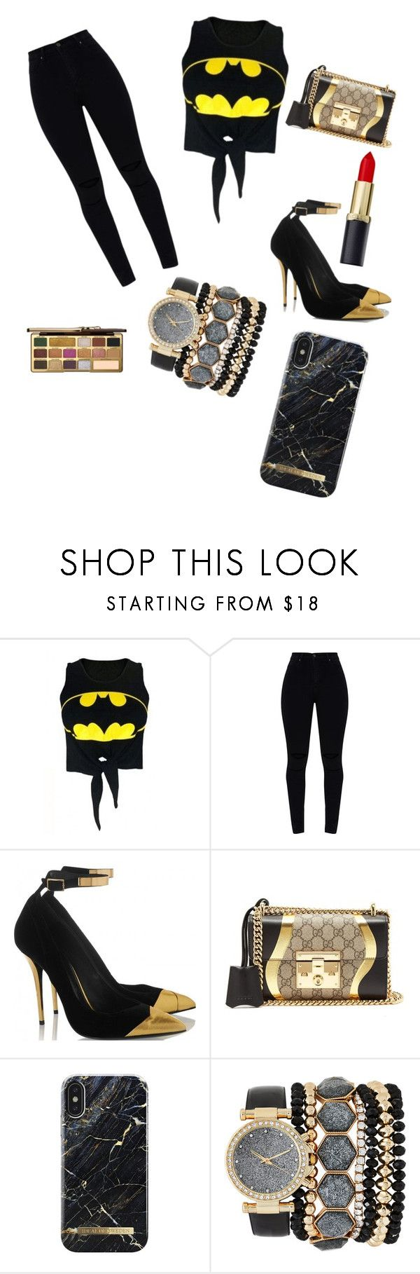 """Batman Outfit"" by autumnyork30 ❤ liked on Polyvore featuring WithChic, Gucci, Jessica Carlyle and Too Faced Cosmetics"