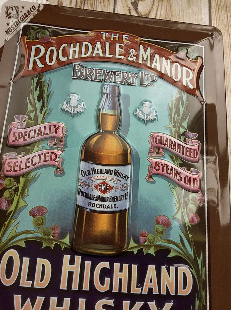Rochdale & Manor Old Highland Whisky Embossed Wall Sign tin scottish whiskey
