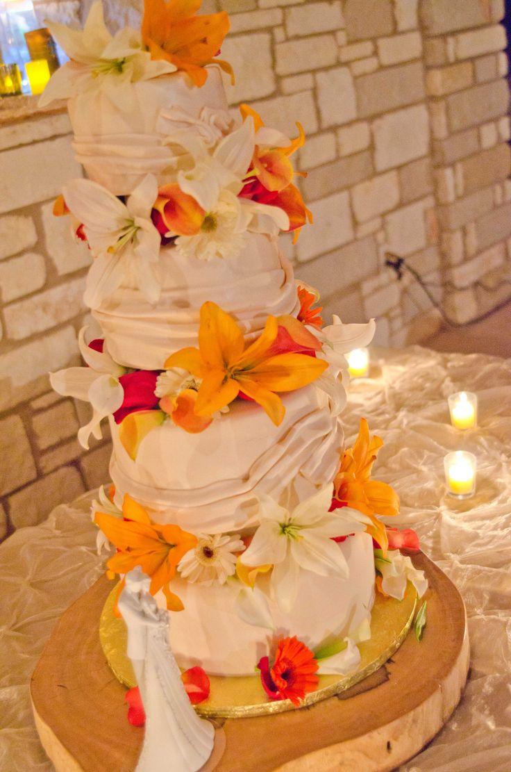 Hill Country Cakery - #Cake #Bakery #Flower #Wedding #Pretty #Orange #Tall #Austin #Texas #Jellifi  Jelifi.com