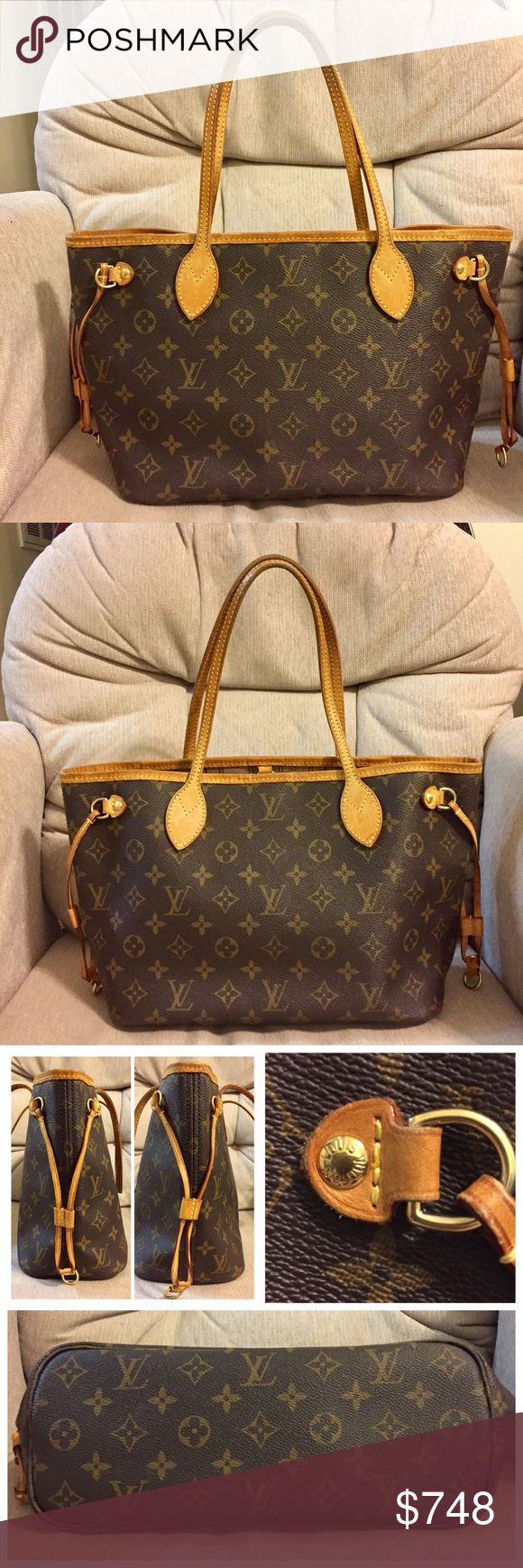 """Louis Vuitton Neverfull PM 100% Authentic Made in France Date Code: VI 2079 Size: w13"""" h10.5"""" d6.5""""  Monogram leather is in good condition. No scratch/tears. Vachetta leather and handles have developed a honey patina-show darkening, wear, & creases, scratches & water marks. Hardwares have NO tarnish. Lining has some dirt, minor ink marks.Pocket has few ink marks but no peeling. Zipper works. Faint storage odor. NO dust bag. FREE NON LV dust bag. Poshmark will authenticate. ❌ TRADE. Louis…"""