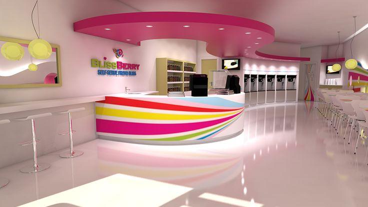 Frozen yogurt store design self-serve