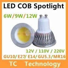 Cree COB Bombillas LED Lamp GU10 MR16 Lampada LED Bulb E27 220V Lamparas Spotlight 9W 12W GU5.3 Spot light GU 10 Luz Ampoule(China (Mainland))