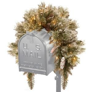 Glittery Bristle Pine Mailbox Swag with 35 Battery Operated LED Lights
