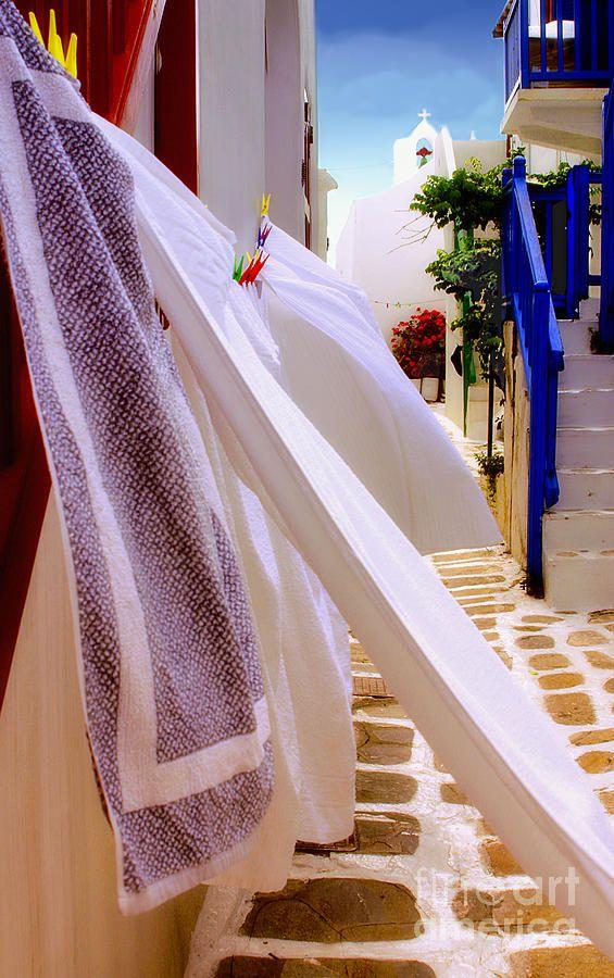 Laundry Day in Mykonos, Greece