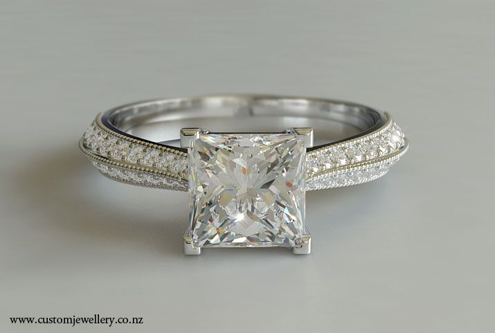 princess cut engagement rings | Princess Cut Diamond Engagement Ring with Knife-edge tapered shank and ...
