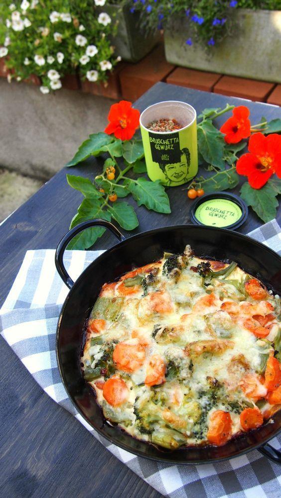 Gemüseauflauf vegetarisch und Low Carb mit Käse und Bruschetta Gewürz von Just Spices